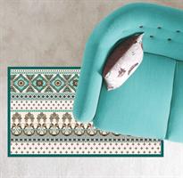 שטיח pvc לבית בגוונים של טורקיז (דגם 1063)