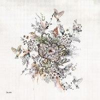 תמונה בוהו של פרחים וציפורים
