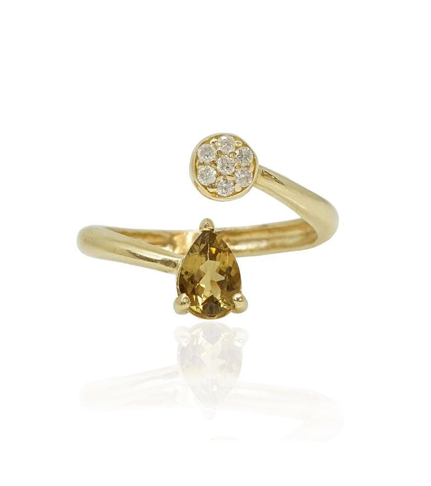 טבעות פתוחה זהב יהלומים ואבן חן