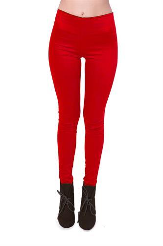 מכנס צמוד מבד כותנה ליקרה ללא רוכסן ללא כפתור בצבע אדום
