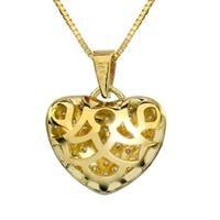 שרשרת ותליון לב מזהב צהוב 14K משובץ יהלומים 0.85 קראט בשיבוץ פאווה צפוף.