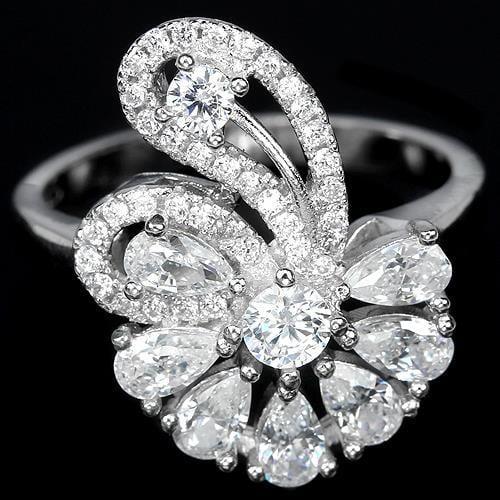 טבעת כסף משובצת זרקונים RG9041 | תכשיטי כסף 925