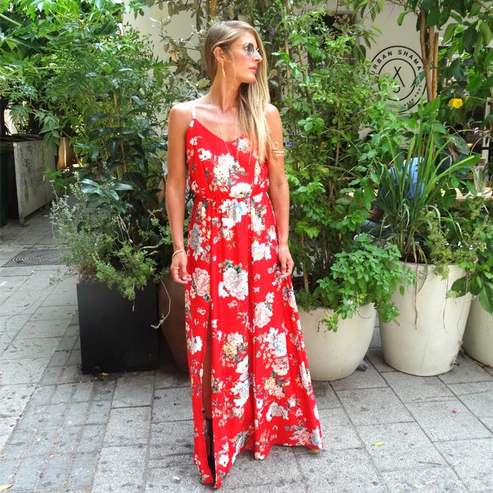 שמלת אדל אדום פרחוני