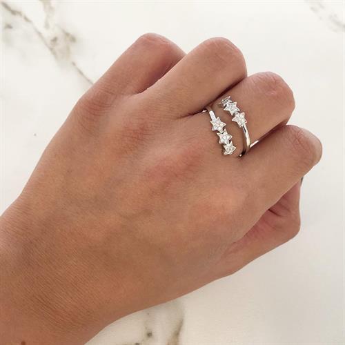 טבעת כוכבים משובצים כסף 925