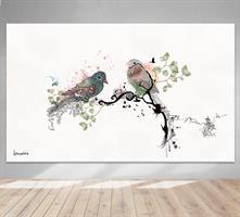 תמונה של ציפורים תלוי בתוך סלון
