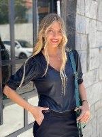 חולצת לזלי שחור THOMAS