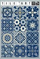 12 מדבקות לאריחים 15*15 ס''מ כחול מלכותי דגם 1274
