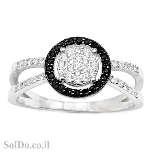 טבעת מכסף משובצת אבני זרקון שחורות ולבנות RG6028 | תכשיטי כסף | טבעות כסף
