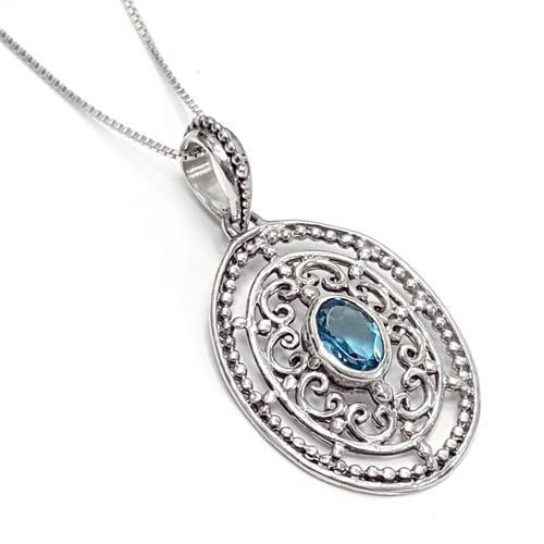 תליון מכסף מעוצב כולל שרשרת, משובץ אבן טופז כחולה T5867 | תכשיטי כסף