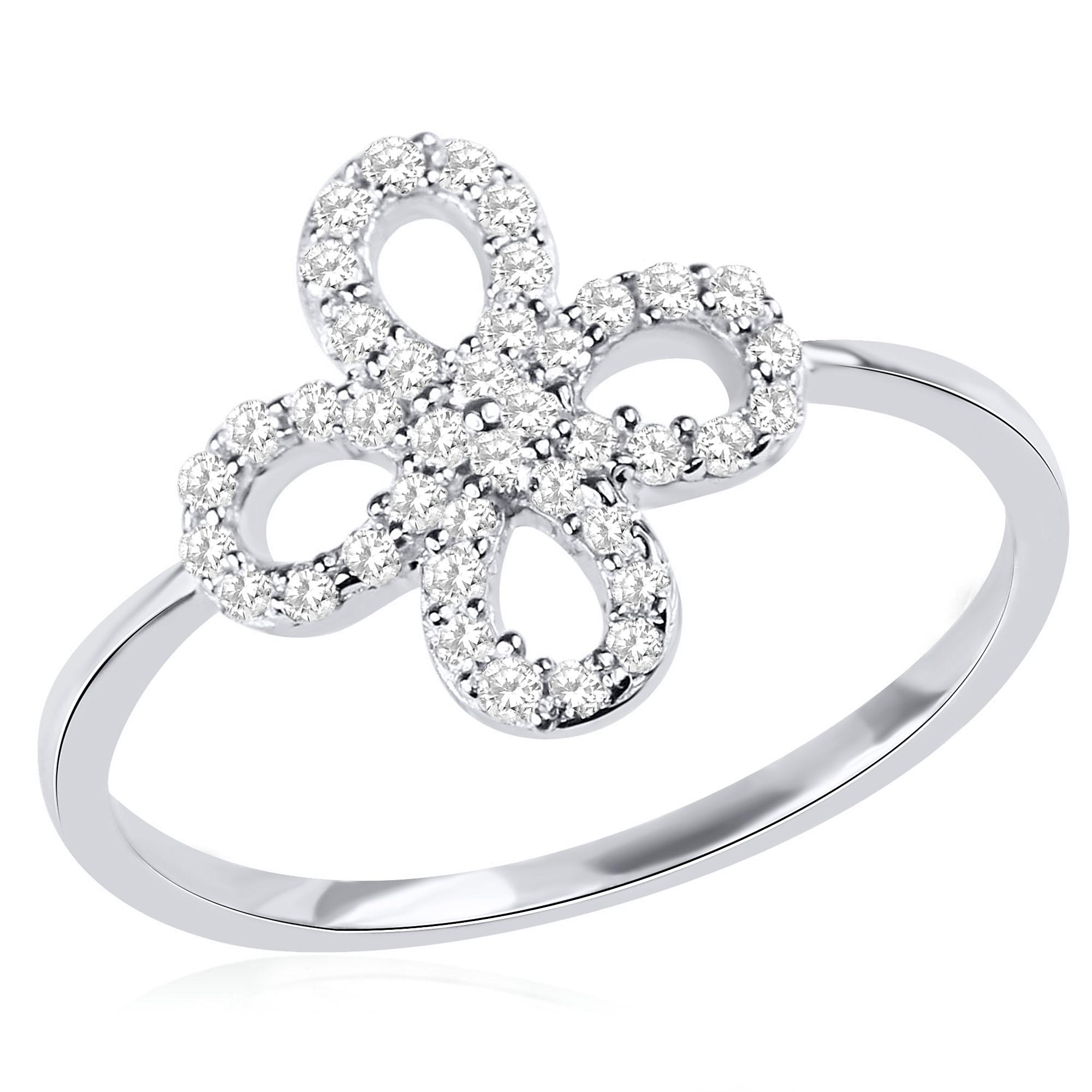 טבעת תלתן זהב לבן 14 קראט משובצת יהלומים