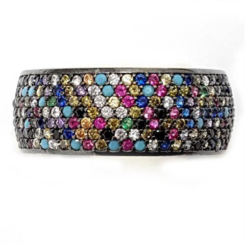 טבעת כסף רחבה משובצת אבני זרקון צבעונית RG5538 | תכשיטי כסף | טבעות כסף