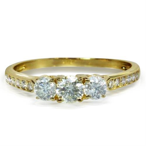 """טבעת זהב 14 קרט """"שלוש אבנים"""" משובצת 0.65 קראט"""