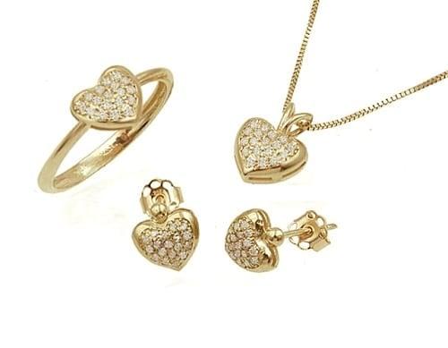סט תכשיטי זהב ויהלומים בסנגון לבבות לילדות