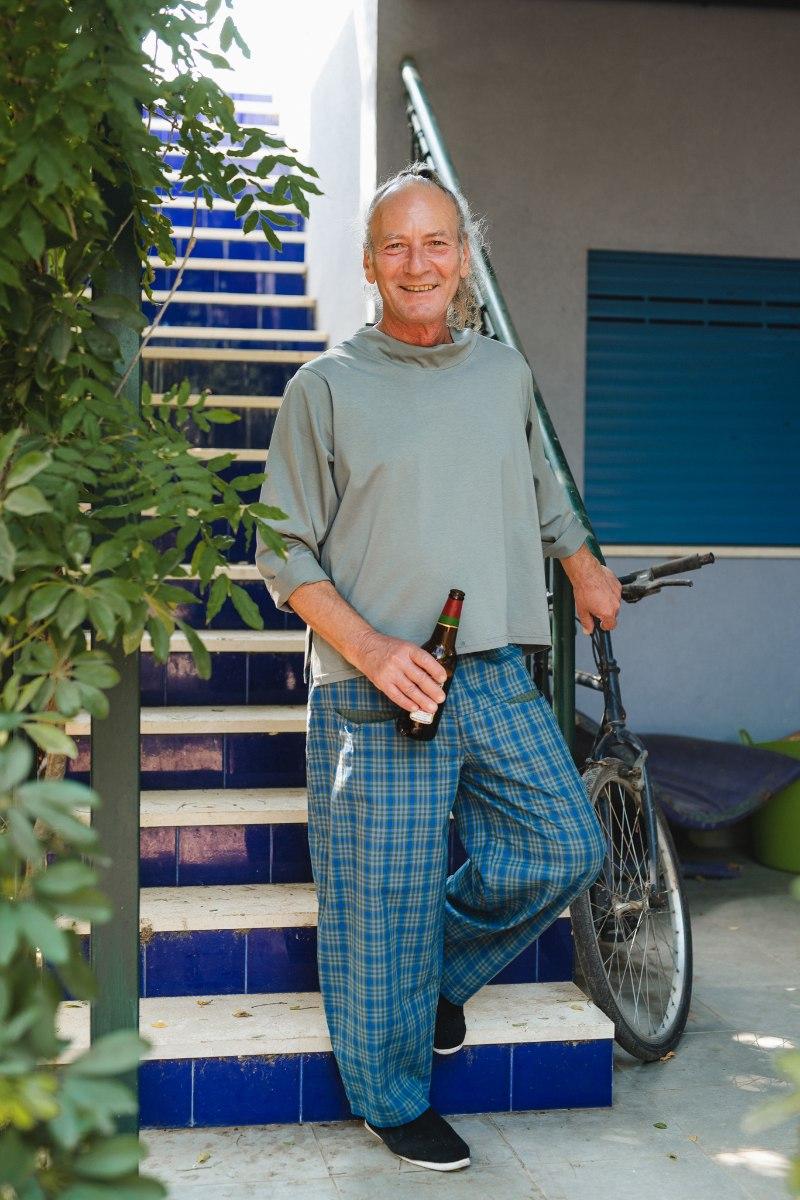 מכנסיים מדגם מיכאלה עם משבצות בכחול וירוק