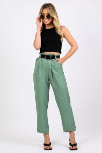מכנס גבוה אלין ירוק/שחור