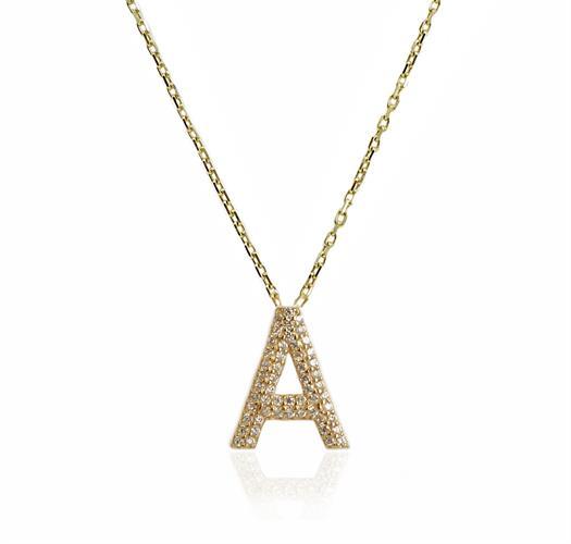 """שרשרת זהב אות עם זרקונים """"A"""""""