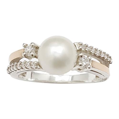 טבעת כסף מצופה זהב 9K משובצת פנינה לבנה ואבני זרקון  RG5967 | תכשיטי כסף | טבעות כסף