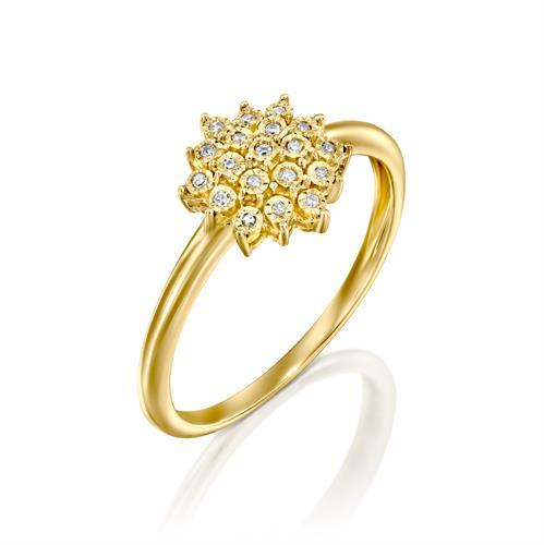טבעת נצנוץ של אהבה משובצת יהלומים בזהב צהוב או לבן 14 קראט