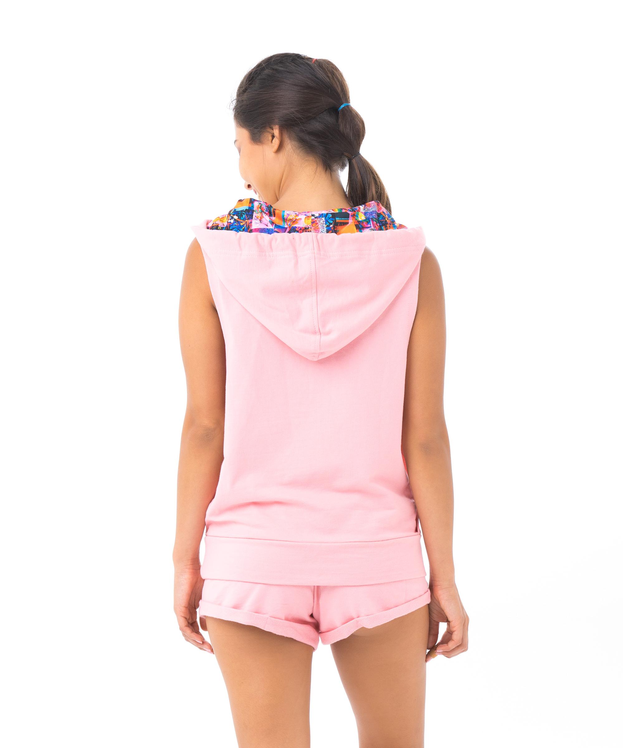 """שמלת קפוצ'ון לנשים-גופיית """"HOODIE"""" בצבע ורוד 100% כותנה"""