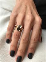 טבעת עמנואל זהב אבן אפורה