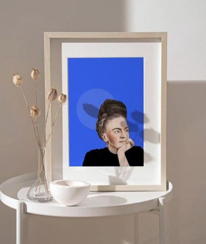 הדפס ציור נייר - פרידה קאלו טרופית כחולה