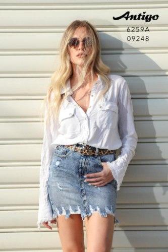 חצאית מיני ג'ינס חגורה ANTIGO