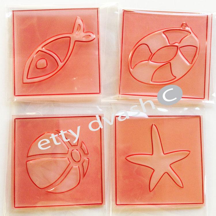 סט תבליטי אלמנטים - כדור, כוכב, דג, גלגל ים