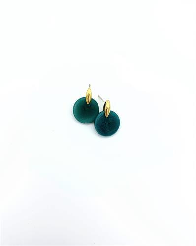 עגילי רווית צמודים גווני ירוק-זהב