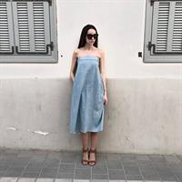 שמלת סטרפלס ג'ינס