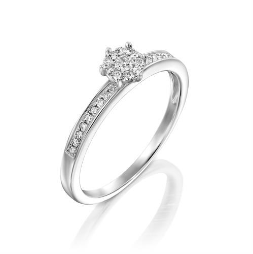 טבעת פרח האהבה משובצת יהלומים בזהב לבן או צהוב 14 קראט