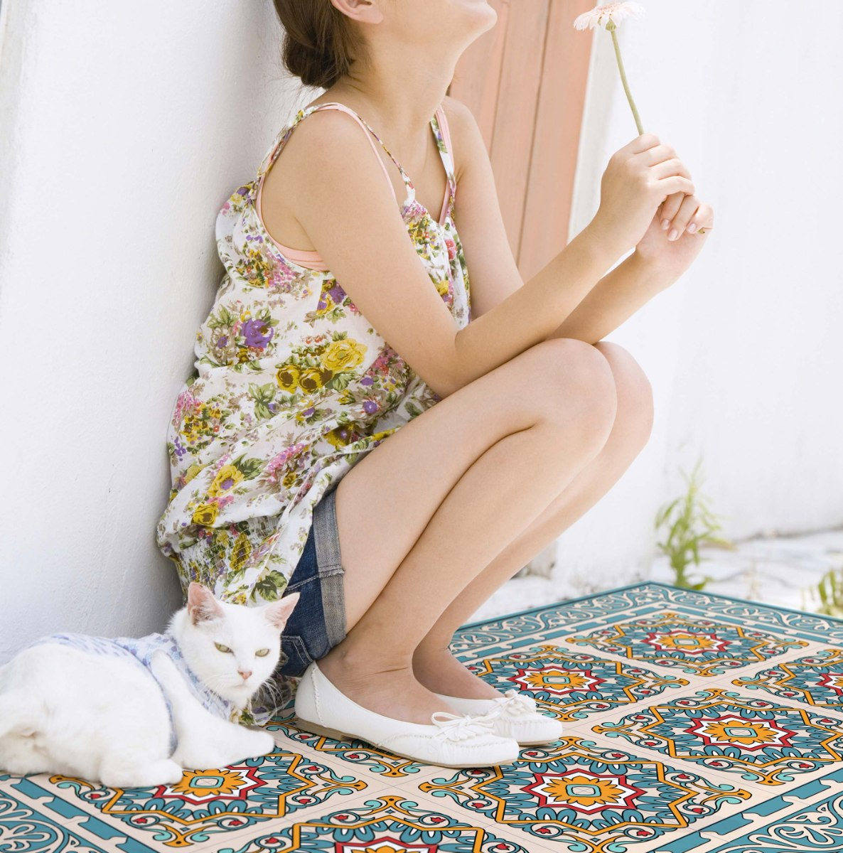 שטיח פי.וי.סי ברצלונה טורקיז TIVA DESIGN קיים בגדלים שונים
