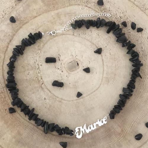 שרשרת צ'יפסים שחור עם שם כסף 925/גולדפילד