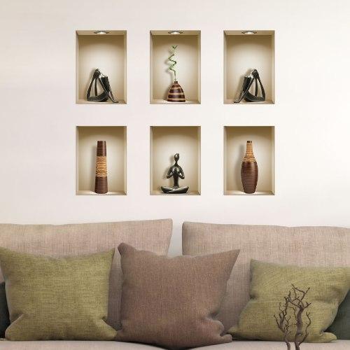 שישיית מדבקות נישה כוורת פסלים שחורים ואגרטלים חומים מעץ דגם 650