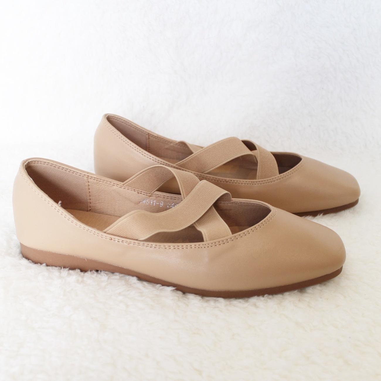 נעלי בלרינה שטוחות ורוד מט