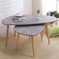 שולחן סלון בשילוב עץ טבעי מידות :60×60×40 , 90×90×45