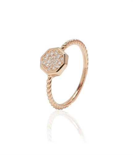 טבעת צמה זהב 14 קראט עם יהלומים