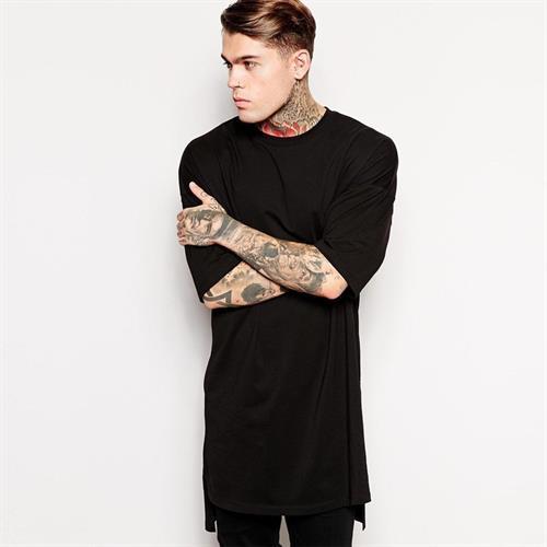חולצת היפ הופ ארוכה שרוול קצר אופנתית
