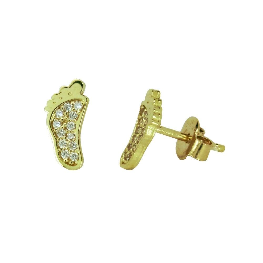 עגילי זהב 14 קרט עם זרקונים צמודים לאוזן בצורת רגל