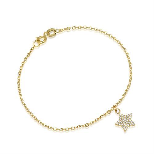 צמיד זהב עם צ'ארם כוכב נופל