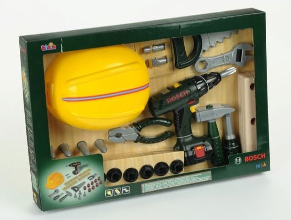 Bosch סט כלי עבודה+מברגה+קסדה