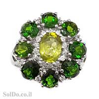 טבעת כסף משובצת אבני כרום דיופסיד וזרקונים RG6005 | תכשיטי כסף 925