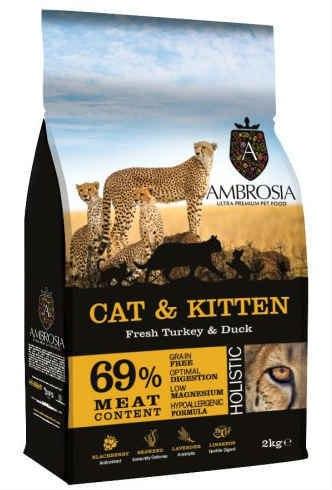 """אמברוסיה לחתולים גורים ובוגרים הודו וברווז 2 ק""""ג"""