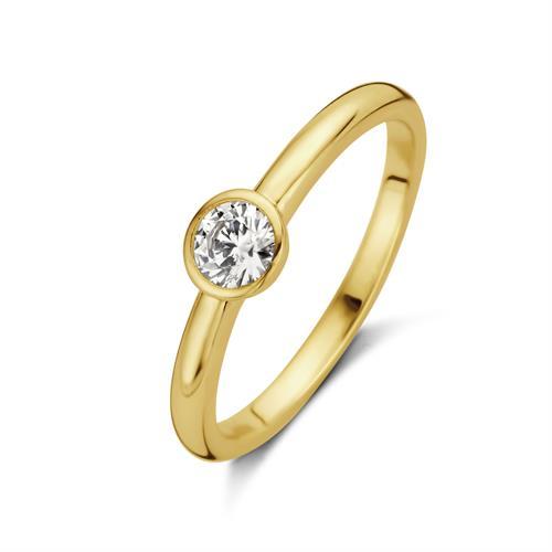 טבעת סוליטר - ציפוי זהב