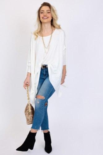חולצת אוברסייז נטלי  לבן/כאמל