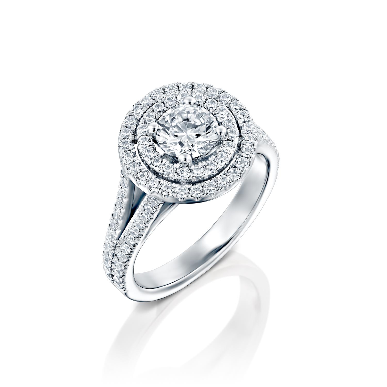 טבעת אירוסין זהב לבן 14 קראט משובצת יהלומים DOUBLE HALOW TWO ROWS