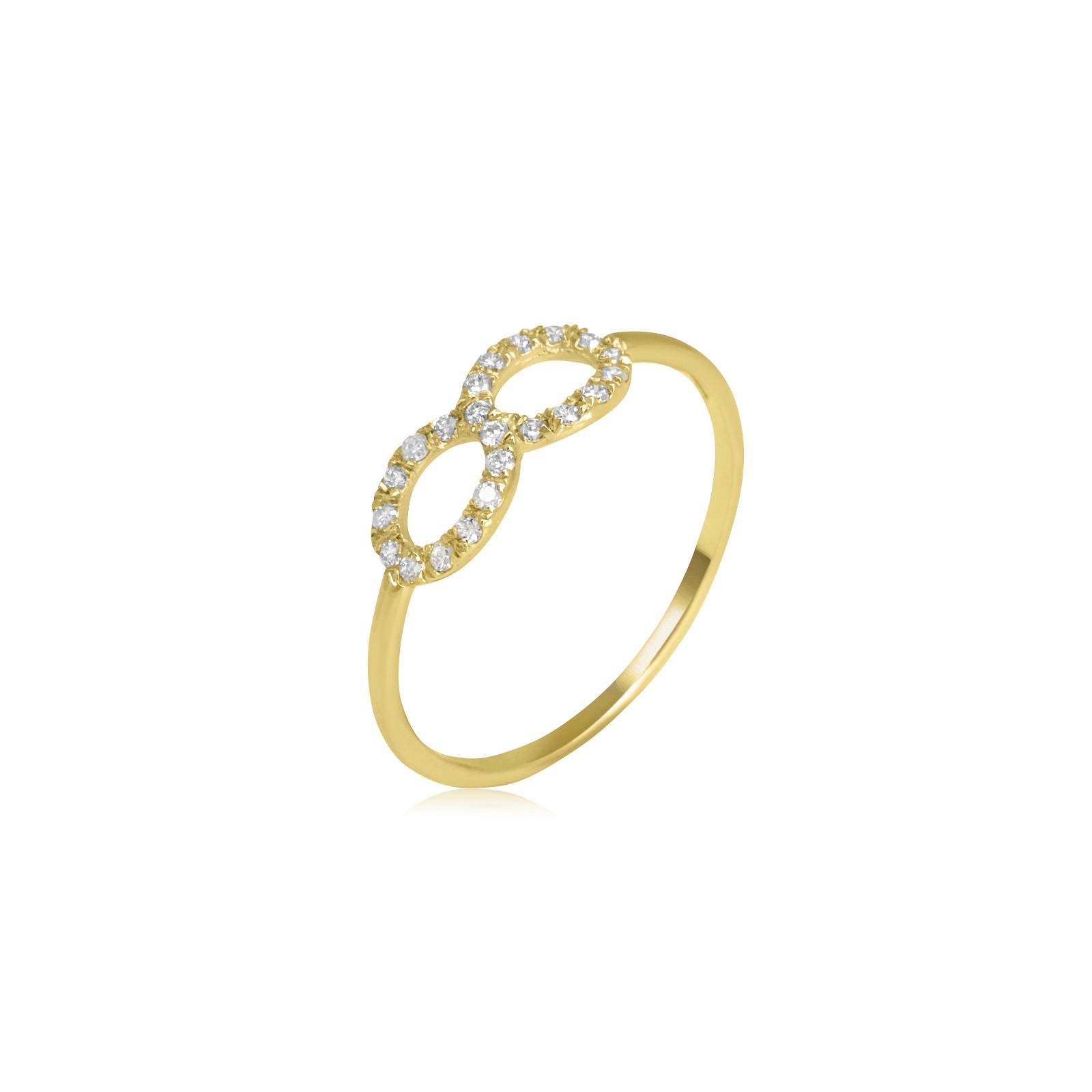 טבעת אינפיניטי זהב יהלומים 0.15 קראט