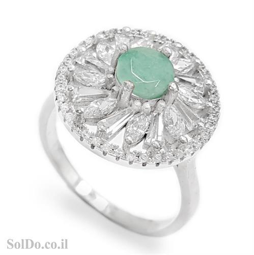טבעת מכסף משובצת אבן אמרלד וזרקונים RG6079 | תכשיטי כסף 925 | טבעות כסף