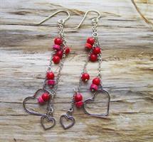 עגיל לבבות אדומים