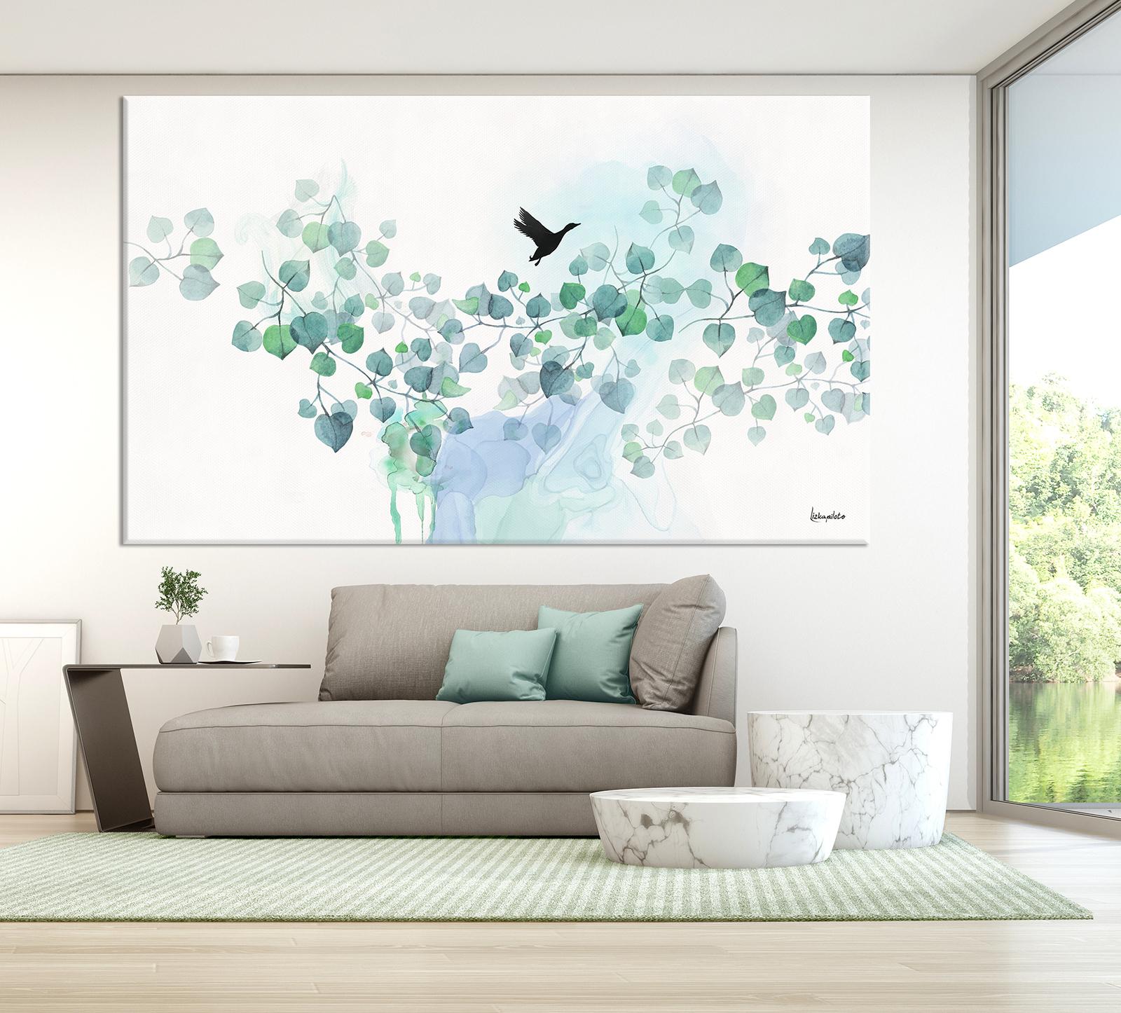 ציור טורקיז לסלון