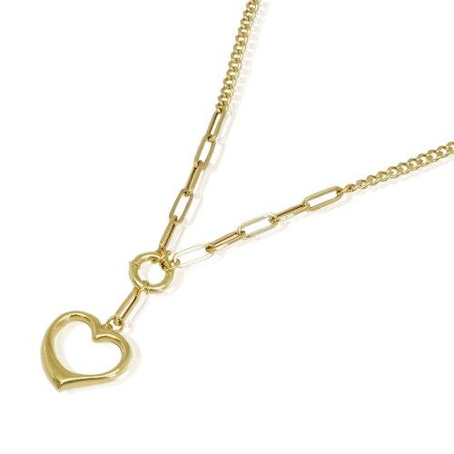 שרשרת זהב חוליות מיקס ותליון לב